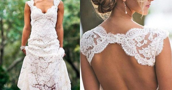 2016 Full Lace Wedding Dresses Country Style Pluging V