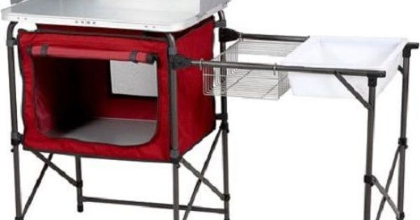 ozark trail deluxe camp kitchen sink table portable