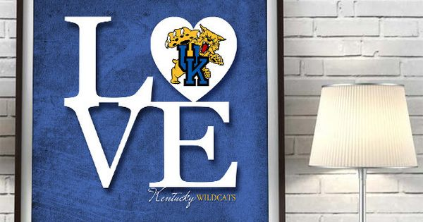 Man Cave Gifts For Him : Kentucky wildcats quot love art print sports wall decor man