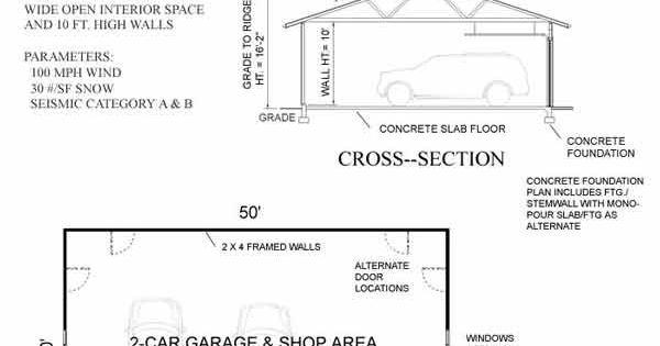 30x50 10 39 ceilings 2 12x8 doors garage pinterest for 30x50 garage plans