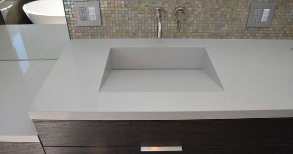 Bathroom countertop and integrated sink part 3 quartz for Integrated quartz sink