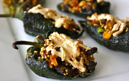 Mexican Style Vegan Stuffed Poblano Peppers Ingredients:  6 small poblano peppers, sliced