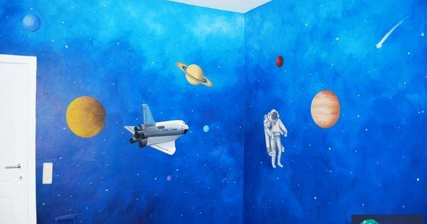 Muurschildering planeten in de ruimte muurschilderingen kinderkamers van eigen ontwerp pinterest - Ontwerp muurschildering ...