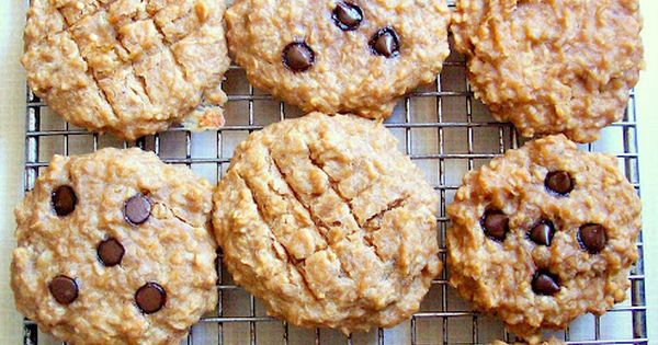 Peanut Butter Banana Oat Breakfast Cookies with Carob / Chocolate Chips. School