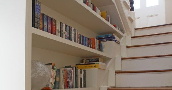 Bookcase built into stair wall love entry way stairs pinterest stair walls walls and - Staircases with integrated bookshelves ...