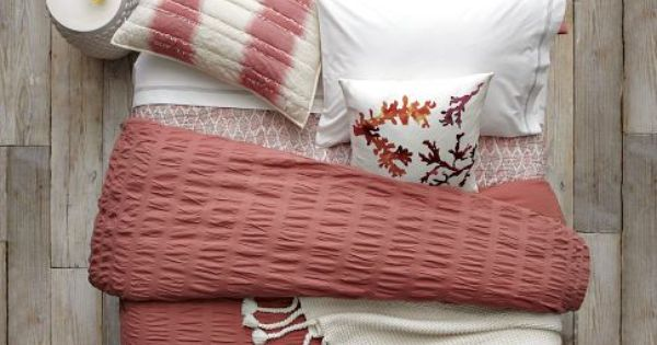 Coral Collection | west elm - layered bed looks, coral