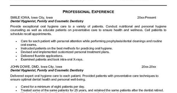 Dental Hygienist Resume Objective We Provide As Reference To