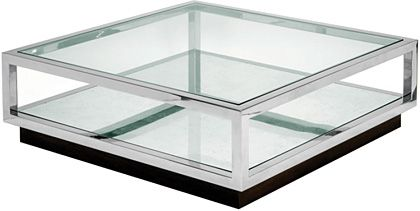 Infinity Coffee Table Polished Stainless Steel With Silver Mirror Lower Shelf And Glass Top
