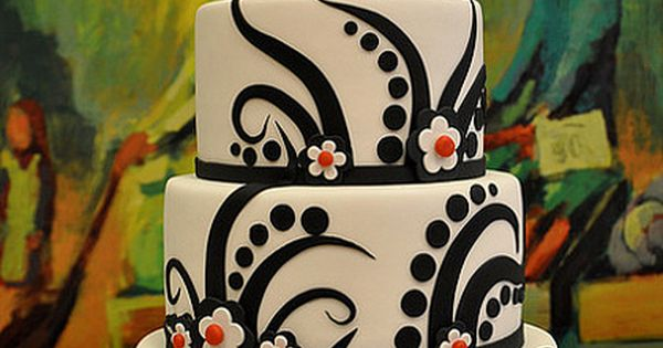 Black, white red wedding cake. Not crazy about the top though.