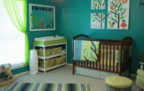 Couleur bleu turquoise et vert anis chambre b b teal and for Chambre bebe bleu turquoise vert anis