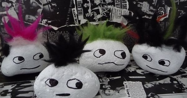 Punk Rocks Craft - painted rock heads with furry hair on top