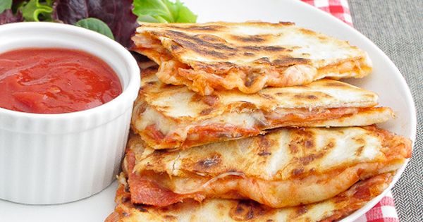 Pizza Quesadilllas! Great idea and so easy! I used whole wheat tortillas,