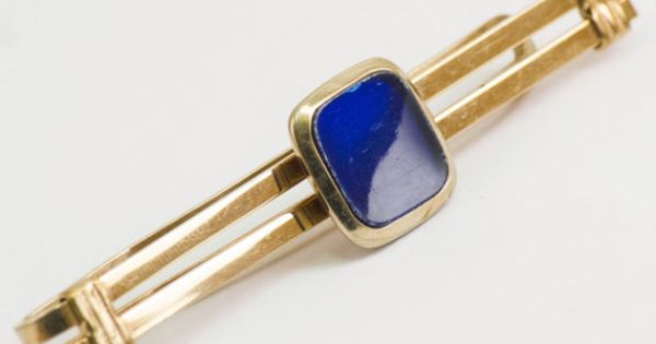 Vintage Tie Clip Dark Blue Adornment on Large Tie by CuffsandClips, $14.50