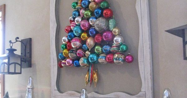 Anywhere Christmas Tree -- Vintage ornament tree on a refurbished screen door