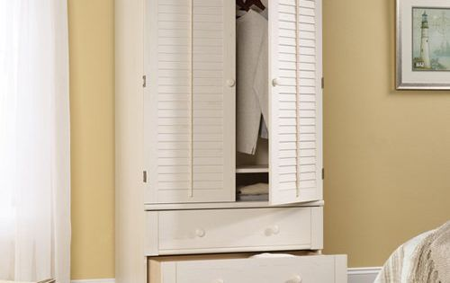 Sauder Harbor View Armoire Antiqued White Made Of Mdf