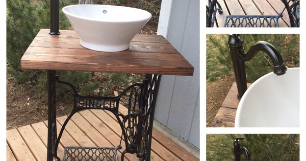 Upcycled Bathroom Ideas: Vintage Upcycled Singer Sewing Machine Base Made Into