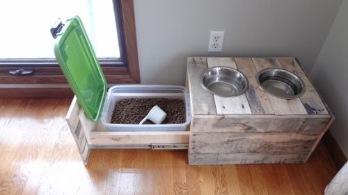 Rustic Dog Bowl Stand Food Storage 6 Furry Friends