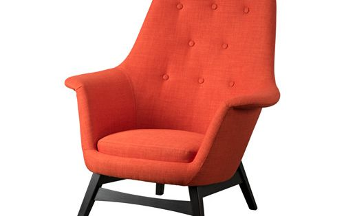 Benarp fauteuil skiftebo oranje armchairs grey and alcove for Fauteuil bras tablette ikea
