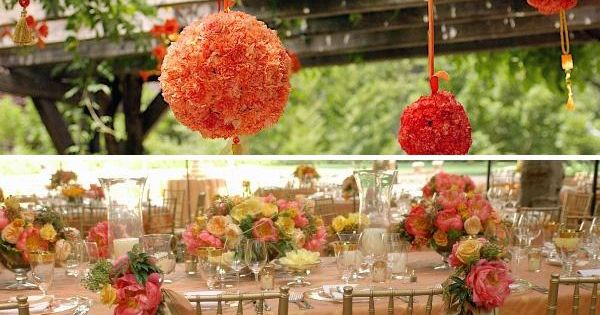 D cor de mariage d 39 t orange suspension boule de fleurs - Decoration d ete ...