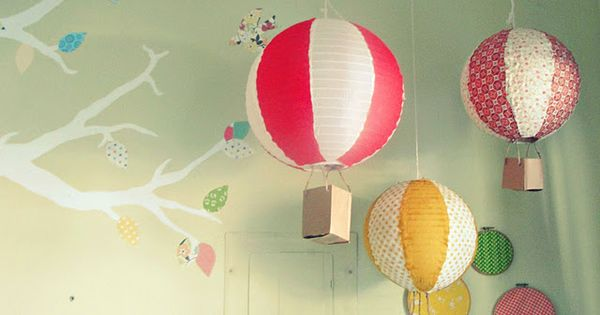 {diy} paper lantern hot air balloons, cute for a kid's room