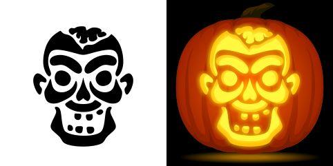 Zombie pumpkin carving stencil free pdf pattern to