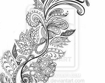 Paisley Flower Tattoo Design.