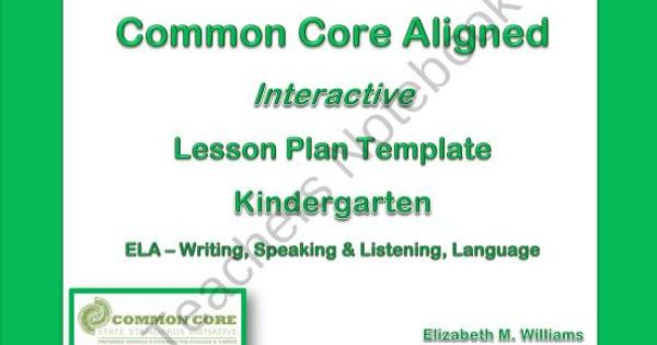 kindergarten common core aligned interactive lesson plan templates from specialneedsnook on. Black Bedroom Furniture Sets. Home Design Ideas
