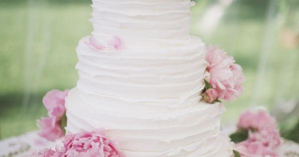 pink peony wedding cake. Simple beautiful!