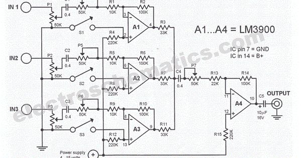 audio mixer schematic