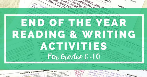 New years writing activity for middle school