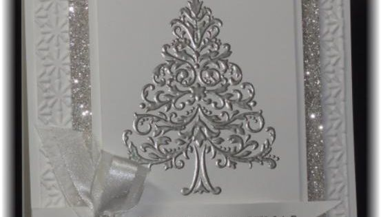 handmade Christmas card ... silver and white .... sparkly delight ... silver