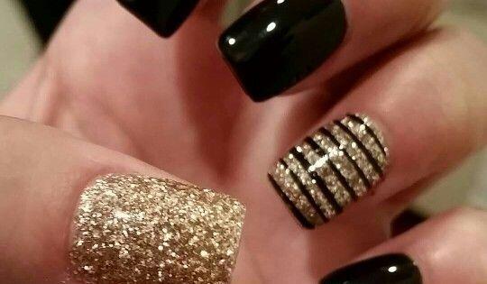 Cool Shellac Glitter Dip Gold Nail Art Designs Pinterest Dips