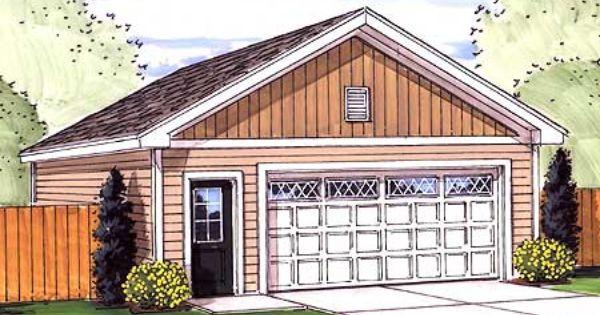 Simple Two Car Garage 92048vs: Plan 62481DJ: Simple 2 Car Garage With Man Door