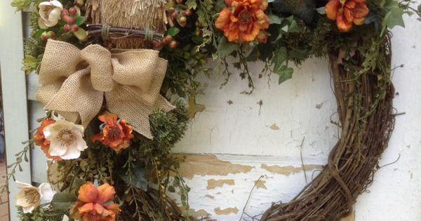 grande couronne de l 39 automne automne guirlande avec. Black Bedroom Furniture Sets. Home Design Ideas