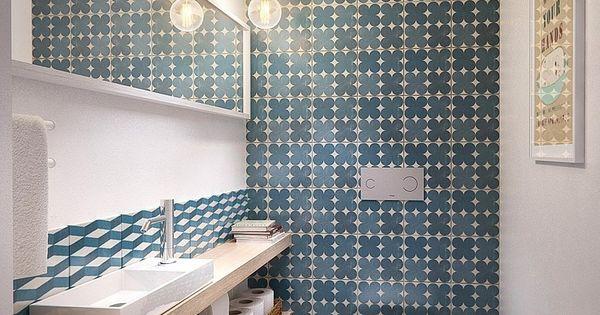 salle de bain floor sol bathroom carreau de ciment tiles carrelage decoration