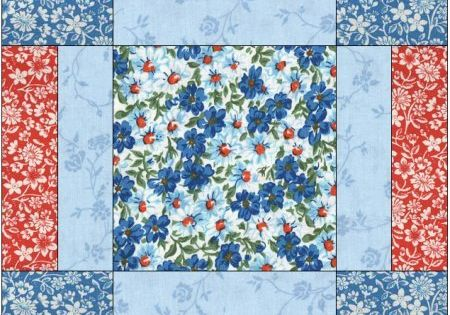 Turquoise Blue Red Flowers Floral Fabric Easy Beginner Pre