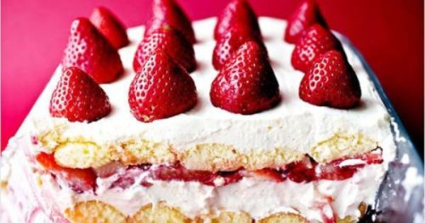 Creamy Strawberry Moscato Cake   Time: 20 minutes, plus 6 hours for