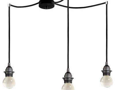 Suspension bi kage triple 3 c bles douilles rosace for Triple suspension luminaire