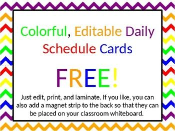 Editable Daily Schedule Cards Free Daily Schedule Cards Daily