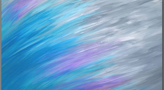 Abstract Canvas Print Teal And Gray Home Decor Blue Aqua Violet Purple Master Bedroom Decor