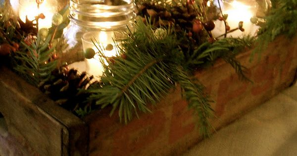 Rustic Christmas centerpiece? mason Jars, wood crate and pine centerpiece