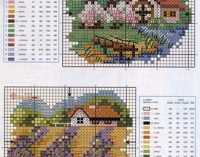 cottages schemi punto croce paesaggi pinterest