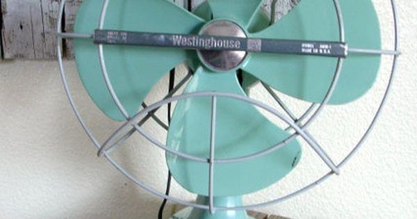 Vintage 1960's Westinghouse Fan Seafoam/Aqua by pickingvintage, $115.00