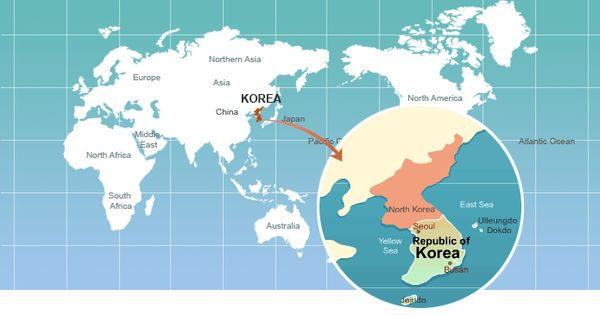 world map in the picture it shows where south and north korea is