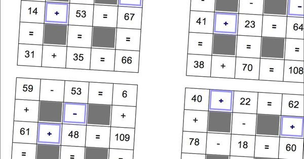 Addition and subtraction grid puzzle worksheets (including ...