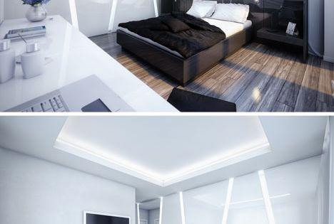 futuristic bedroom interior design black and white house