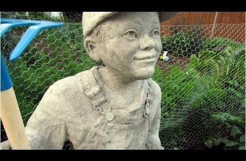 Little Farmer Cement Sculpture Ultimate Paper Mache