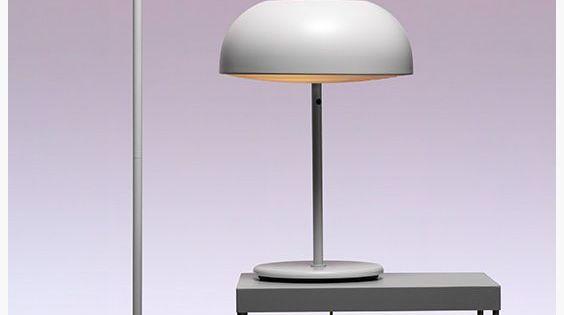 Nymåne bordlampa og stålampa, men i svart. | White floor