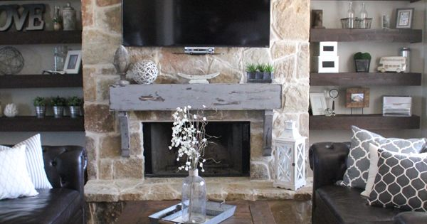 How To Build And Hang A Mantel On A Stone Fireplace Instagram Open Shelving And Fireplaces