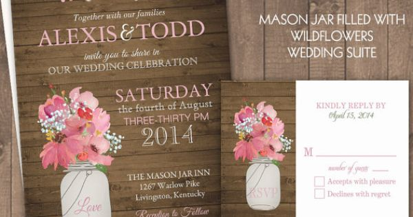 Rustic Mason Jar Country Wedding Invitations with dangling lights - Spring Summer